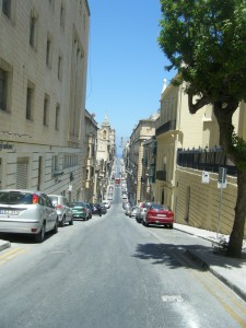 Hilly streets of Valletta, Malta